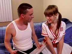 Horny redhead cheerleader is loving it thick