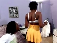 Horny ebony Swiss Mocha gets a monster cock
