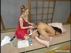 Luscious Asian gets some current of electrodes in her muff