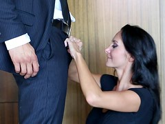 Hot as hell brunette Ava gives blowjob for her husband