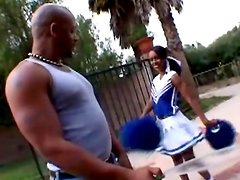Stunning ebony cheerleader moans with her black man