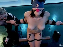 Electrical Torture for Raven Rockette in Bondage Lesbian Femdom Video
