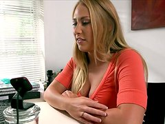 Alluring blonde chick gives her lover one hell of a handjob