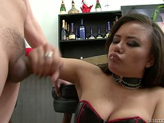 Nasty Annie Cruz bites a dick and gives passionate blowjob