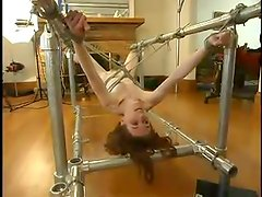 Submissive Clarity gets tied up and punished by a guy in a mask