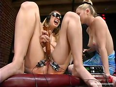 Stunning Leila gets her hairy pussy tortured in a bar