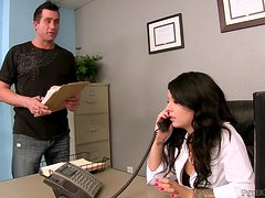 Sizzling Madelyn Monroe rides massive dick in an office