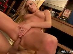 Lean young blonde sits on his cock lustily
