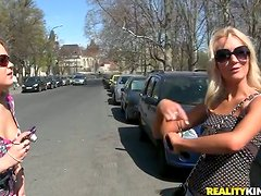 Curvaceous blonde girls get fucked by their new friends