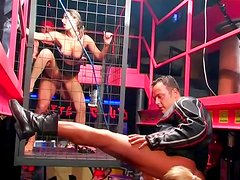 Girl in the cage gets dirty fucked in front of audience