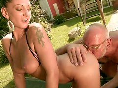 Old dude licks fresh pussy of one naughty brunette babe