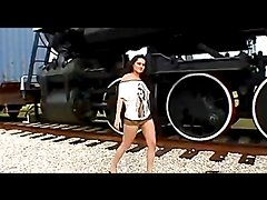 Hot sex in and out of the train with a sexy babe