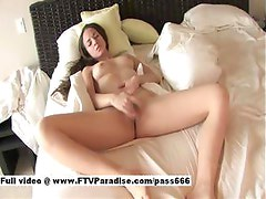 Awesome Sexy Teen Brunette Girl Fingering Cunt