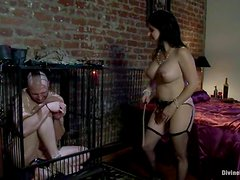 Busty Sativa Rose toys a guy with a strap-on and rides his dick