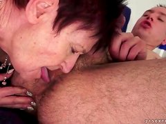 Shaved old lady has a ride on young cock