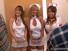 Playful Japanese nurses suck and ride a dick in a hospital