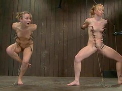 Two blonde babes get humiliated in bondage video