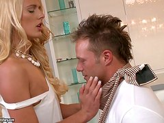 Blonde Chelsey Lanette Sucks Dick and Gets Fucked for Jizz