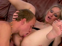 Milf got her wet pussy sucked and licked by her new friend in her bedroom