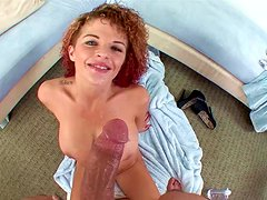 Curly-haired Joslyn James gets sperm in mouth