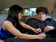 Billy Glide bangs Gabriella Paltrova in the back seat