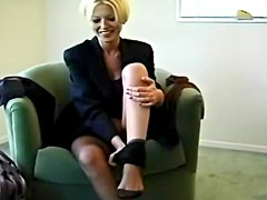 Ambrosial and cute blonde is waiting for her boss