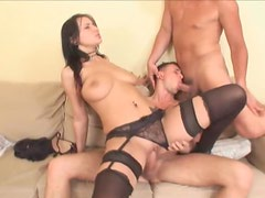 Girl in stockings has them go bisexual
