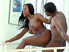 Classy black whore fucks with hung white stud