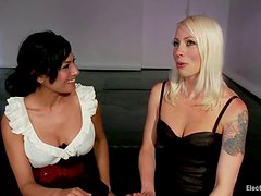 Kinky Electrical Teasing and Anal Strapon for Beretta James in Lez Femdom