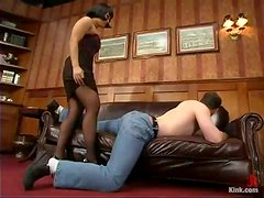 DragonLily ties up and toys a guy in her office