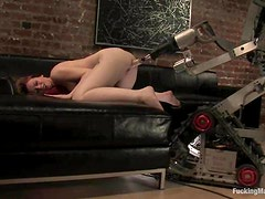 Amber Keen gets her pussy pounded by a fucking machine in the study