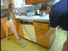 Petite Michelle Monroe gets bound and dominated in a kitchen