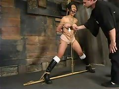Submissive Mika Tan gets suspended and toyed hard