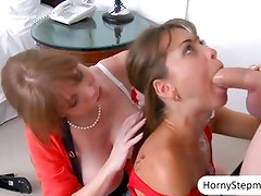 Darla Crane and Riley Reid share on cock