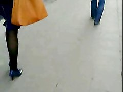 Candid #8 Woman in blue high heels
