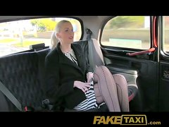 Slutty blonde blows in a taxi and gets fucked in missionary position
