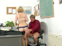Hot college slut with fine fit ass rides her teacher like a cowgirl