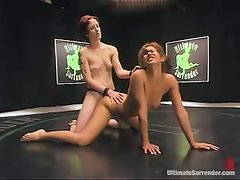 Two kinky bitches fight and then fuck in a ring