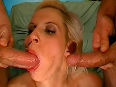 MMF threesome with horny blonde Julia