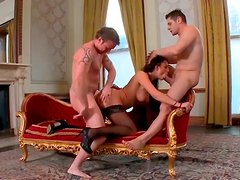 Alluring brunette temptress with big boobs takes part in MMF threesome