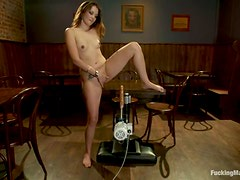 Allie Haze doesn't mind to get her holes pounded by a fucking machine