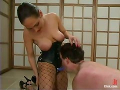 Audrey Leigh and Venus beat some dude and fuck his ass with a strapon