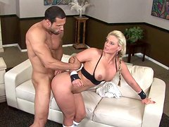 Raunchy stud fucks head and pussy of one lustful blonde