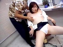 Japanese minx gets tit rubbed