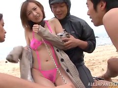 Japanese babe gets her pussy brutally rammed outdoors.