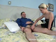 Slender blondie wants to polish your cock