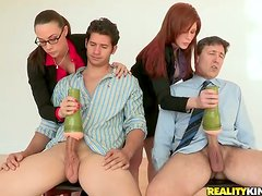 Redhead and Brunette Enjoy Steamy CFNM Foursome Sex