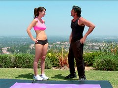 Hot Babe With Nautral Tits Fucks Her Yoga Trainer Outdoors