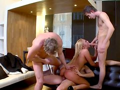 Torn slut with big boobs is fucked brutally in hardcore gangbang