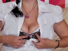 Hefty brunette slut Andrea plays with her hairy pussy on a couch